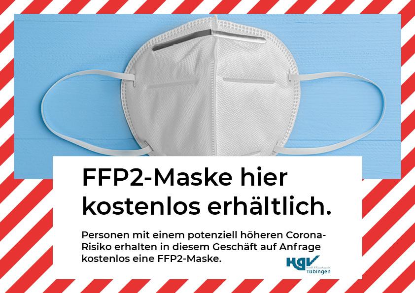 Hinweis kostenlose FFP2-Maskenausgabe